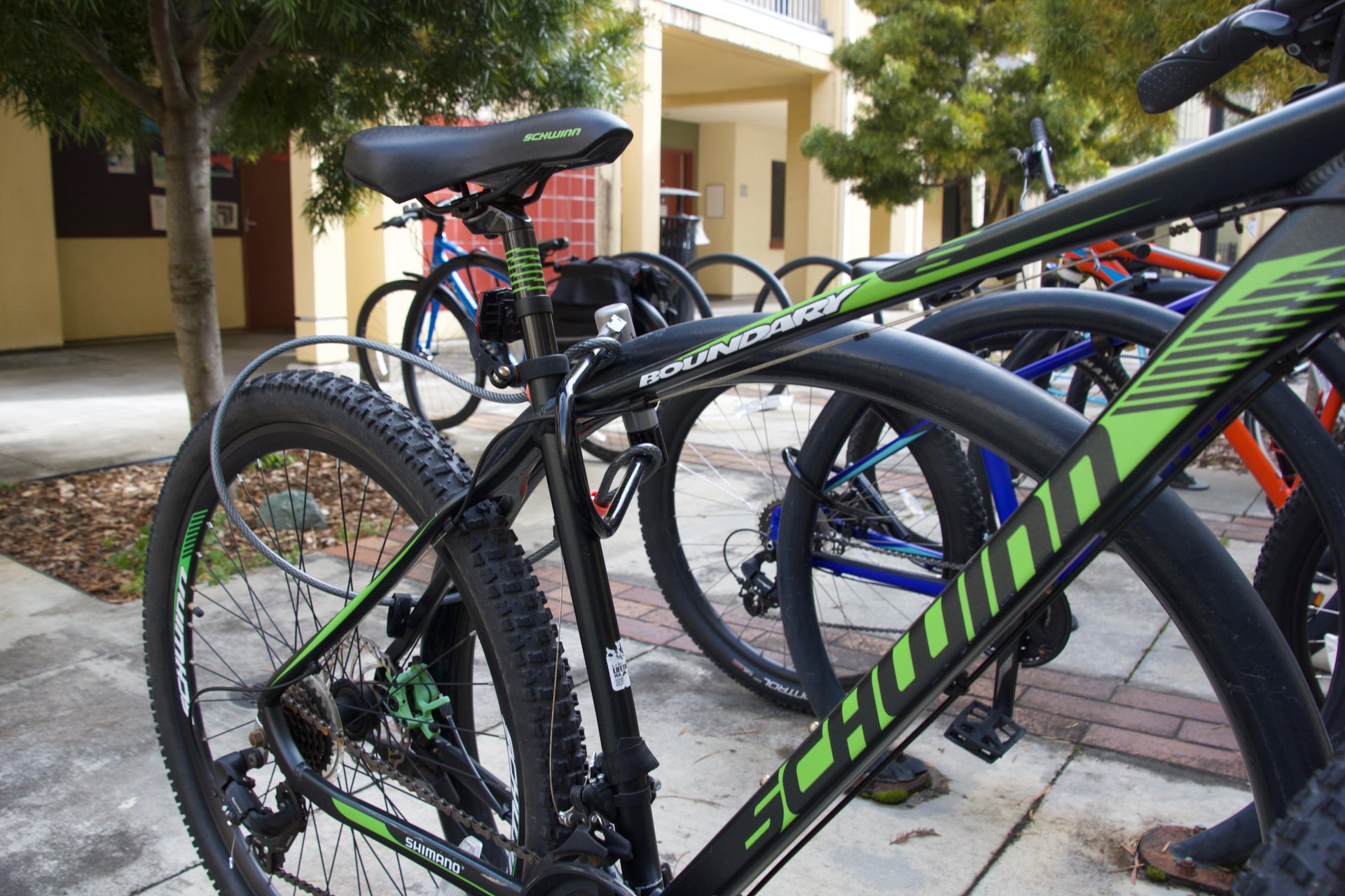 Bicycles locked in the College Creek Apartments courtyard on Feb. 29. | Photo by August Andrews