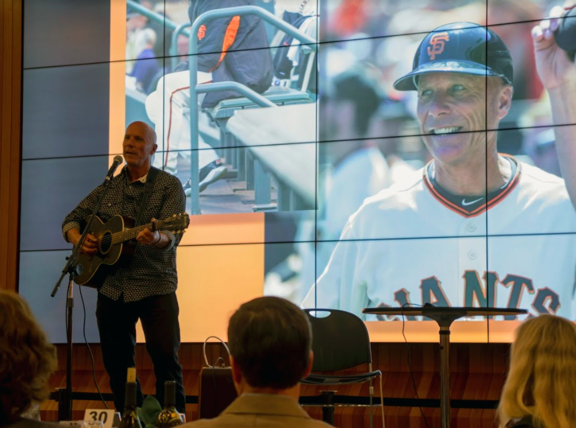 Former major leaguer Tim Flannery kept the crowd engaged with two singing performances and stories from his more than 25 years in the MLB at the 33rd Annual Celebrity Sports Dinner and Auction on April 14 in Eureka. Photo by Gabe Rivera.