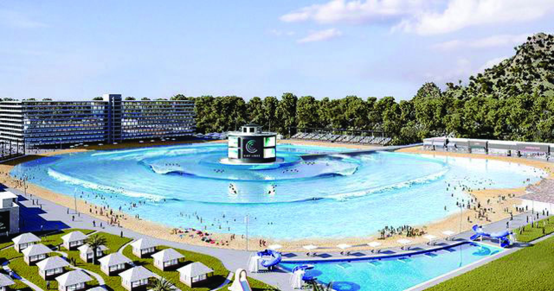 An artist's rendering of Surf Lakes' demonstration facility shows at least eight different waves breaking simultaneously. Image from: surf-lakes.com.au