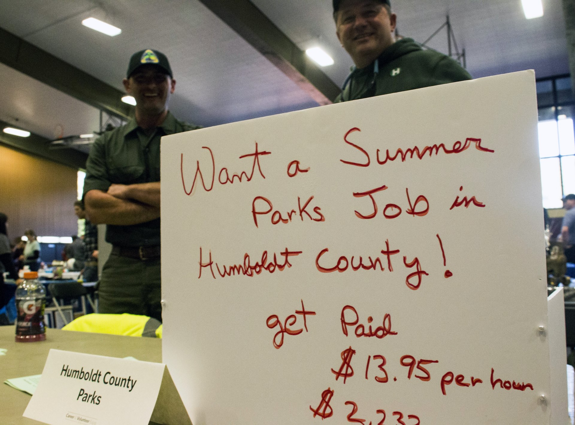 Humboldt County Parks' handwritten sign at the annual Career & Volunteer Expo. The event was held at HSU's West Gym on Feb. 15. Photo by Bailey Tennery.