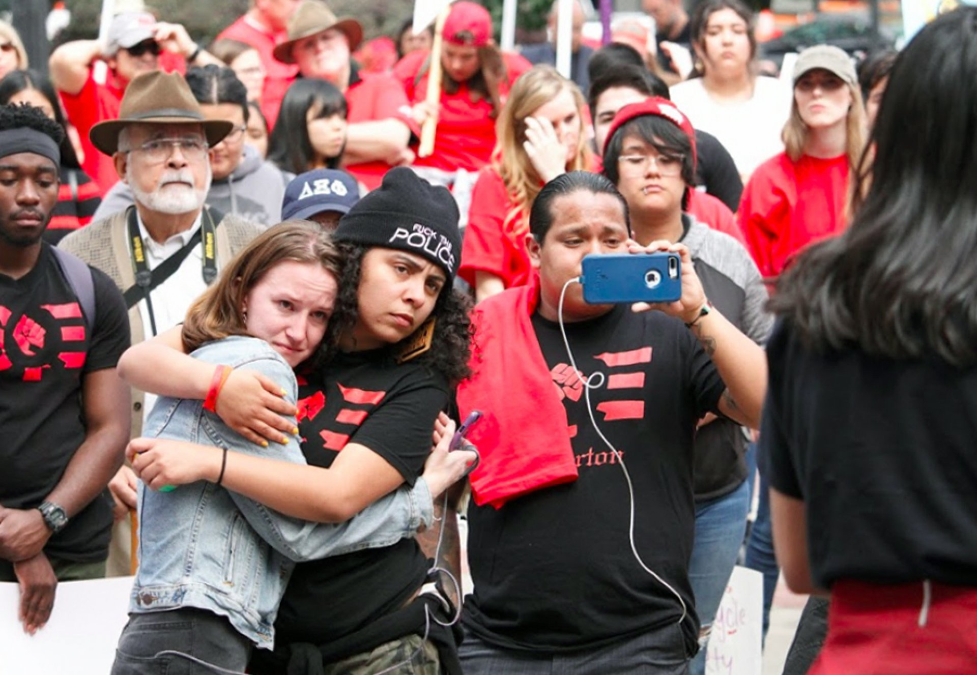 Students embrace during speech at the rally. Photo by Dajonea Robinson.