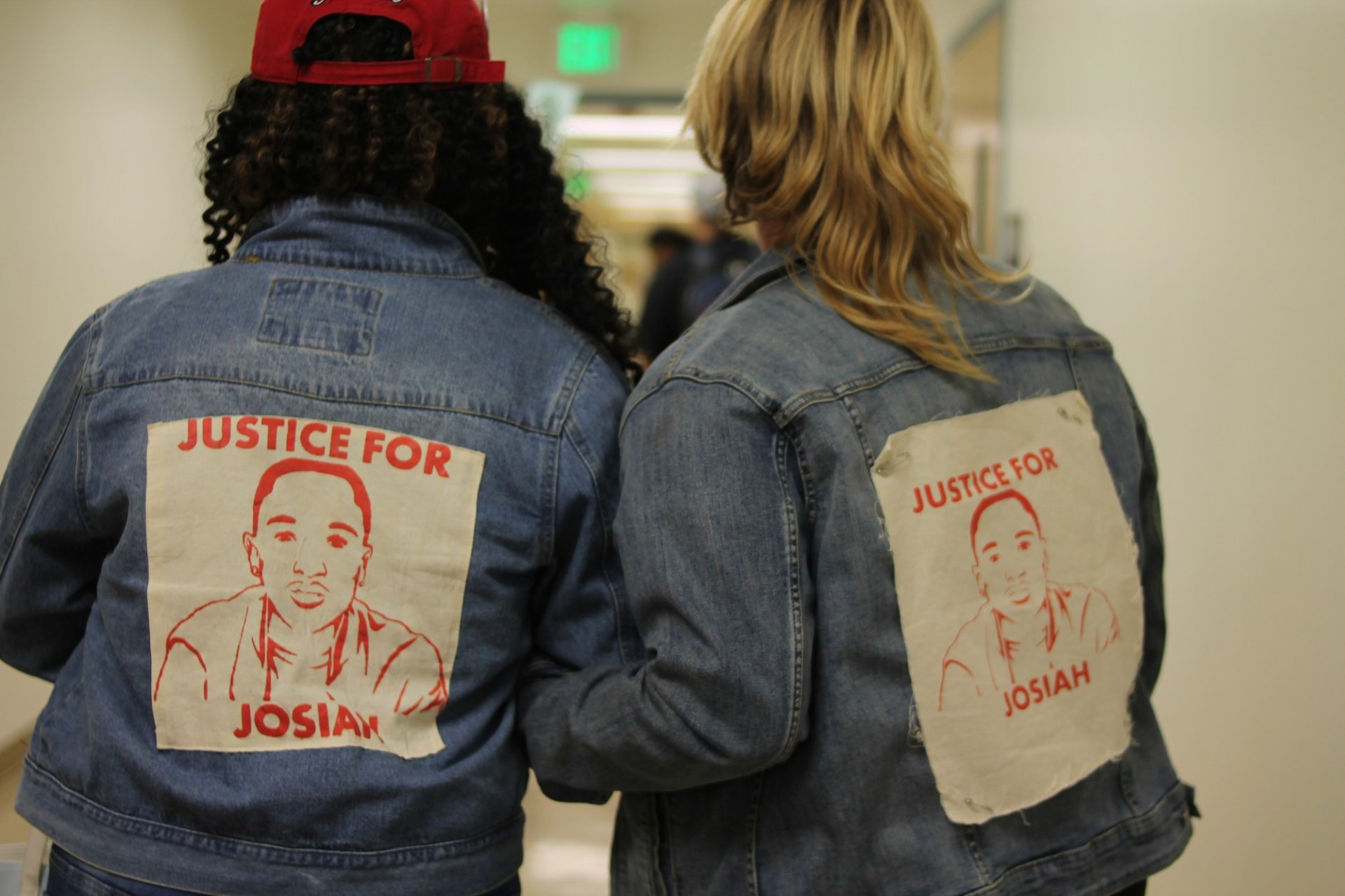Charmaine Lawson, mother of Josiah Lawson, and Jill Larrabee, Justice for Josiah committee member, speak of acountability and safety at Sacramento State University on Oct 18 2018. | Photo by T. William Wallin