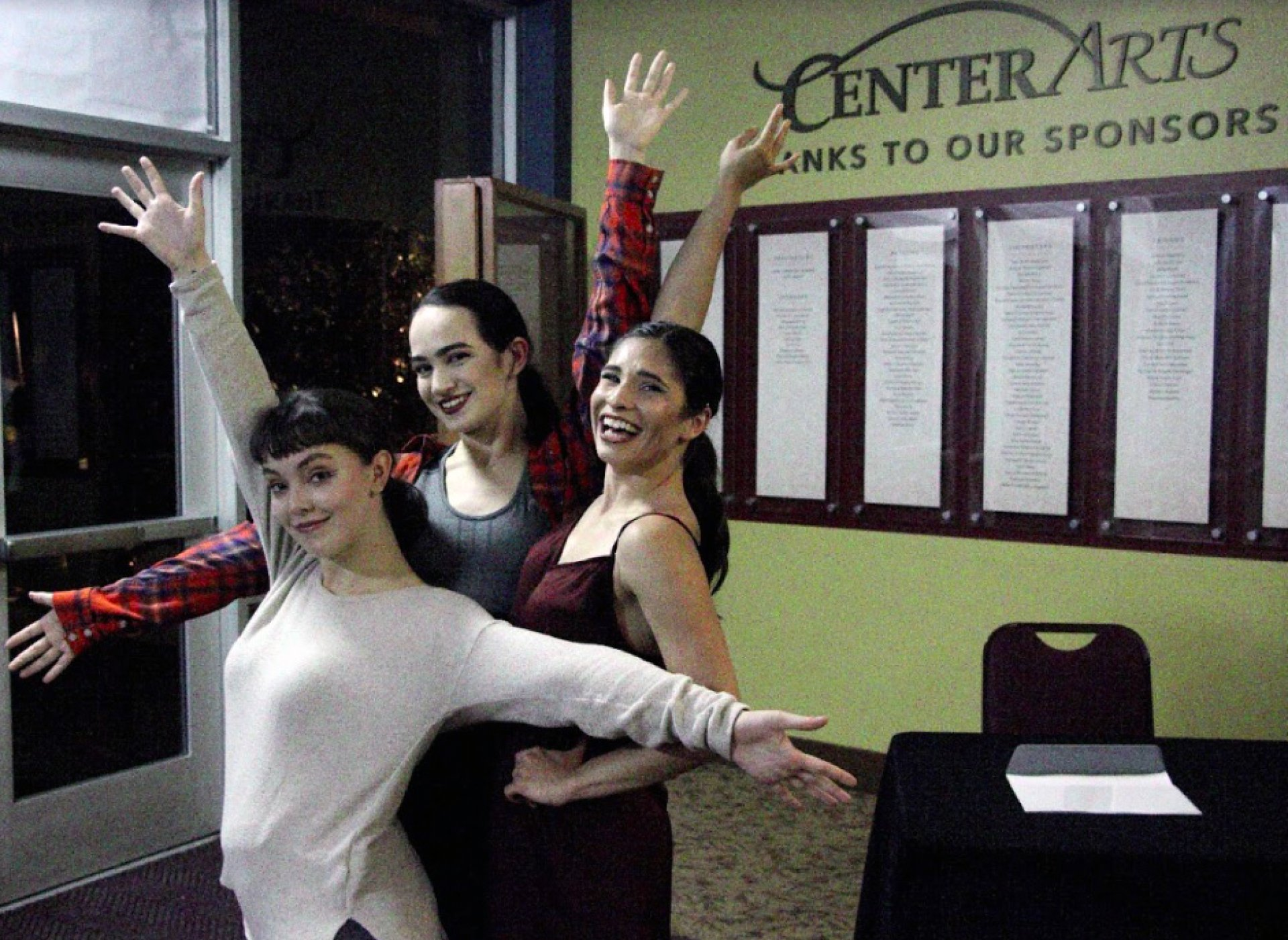 Gabby Connors (left), Tatum Olander (center) and Myranda Domínguez (right) smile shortly after their performance, located in the Van Duzer Theatre on April 6. Photo by Garrett Goodnight.
