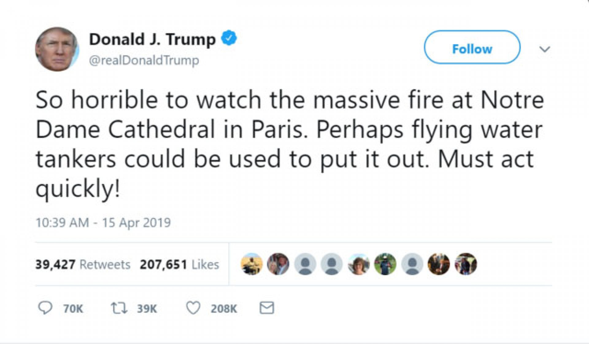 Screen grab from Donald Trump's twitter feed.