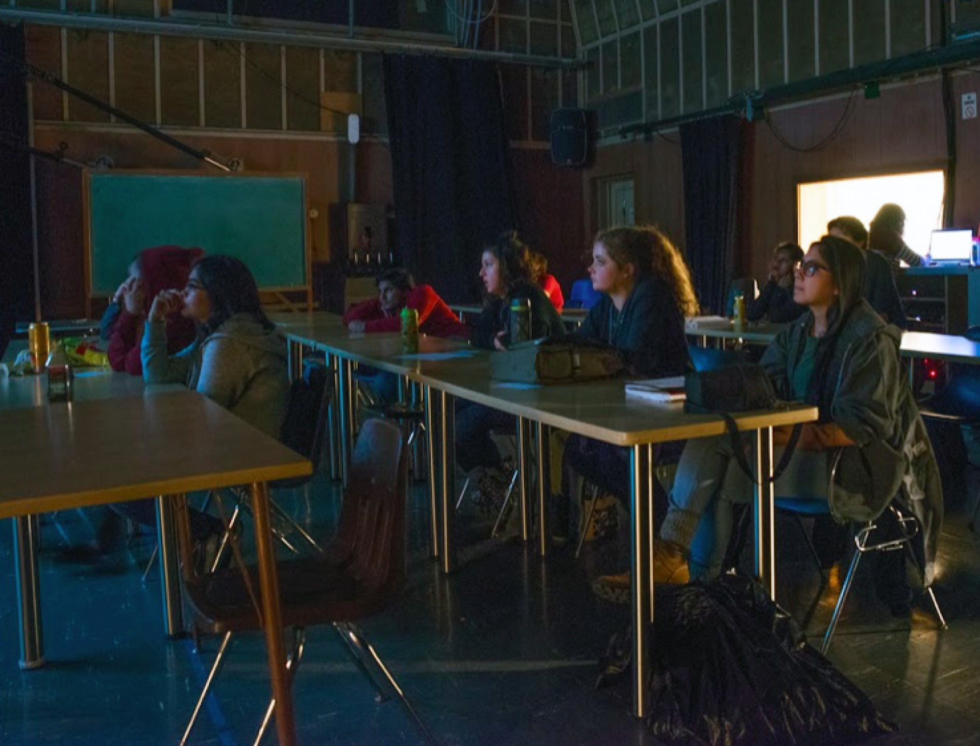 Students in Film 260 watch Humboldt International Film Festival submissions and judge entires. Photo by Anibal Polanco.