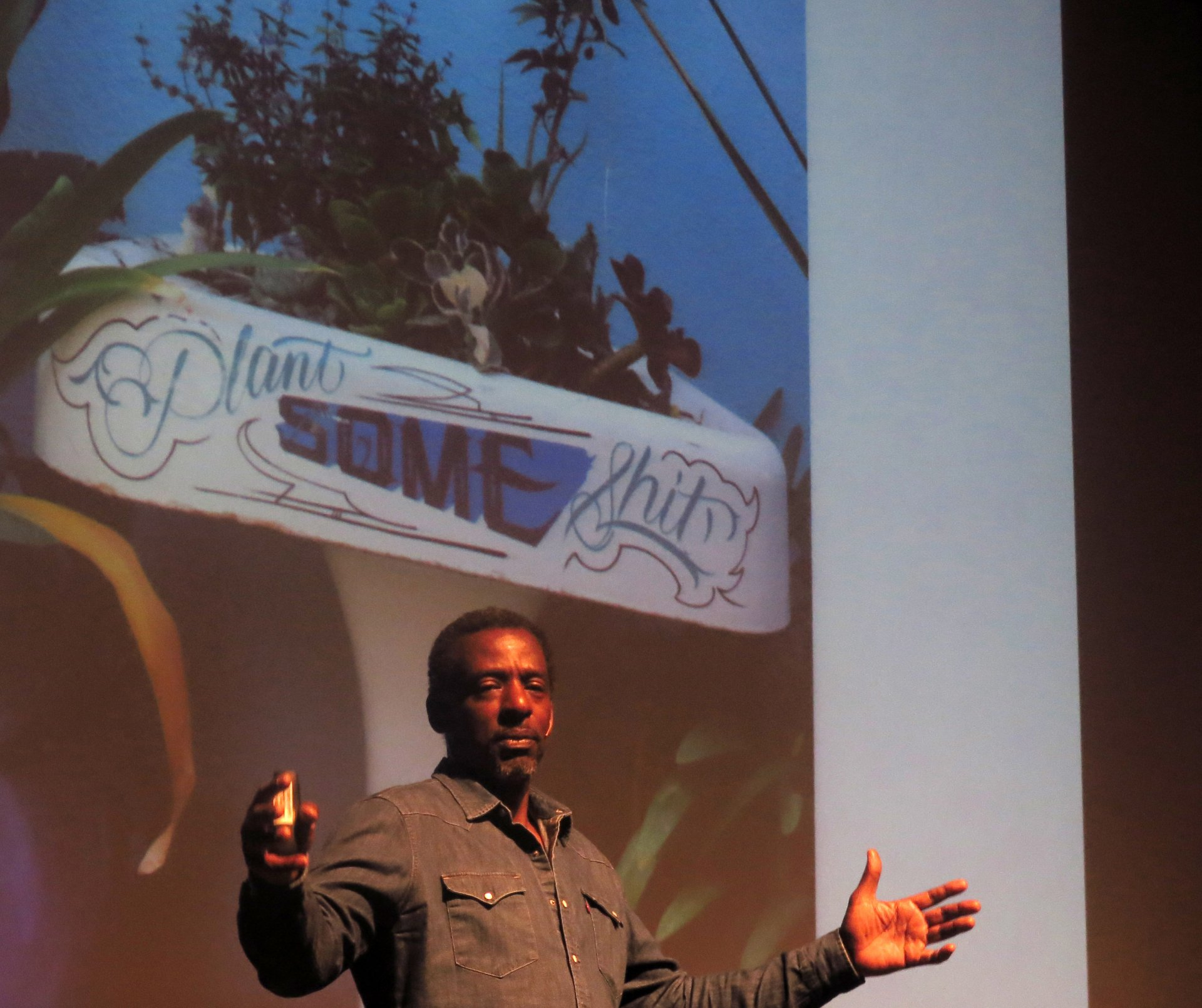 Ron Finley, also known as Gangsta Gardener, speaks at Van Duzer Theatre on Feb. 13. His Ron Finley Project's motto: