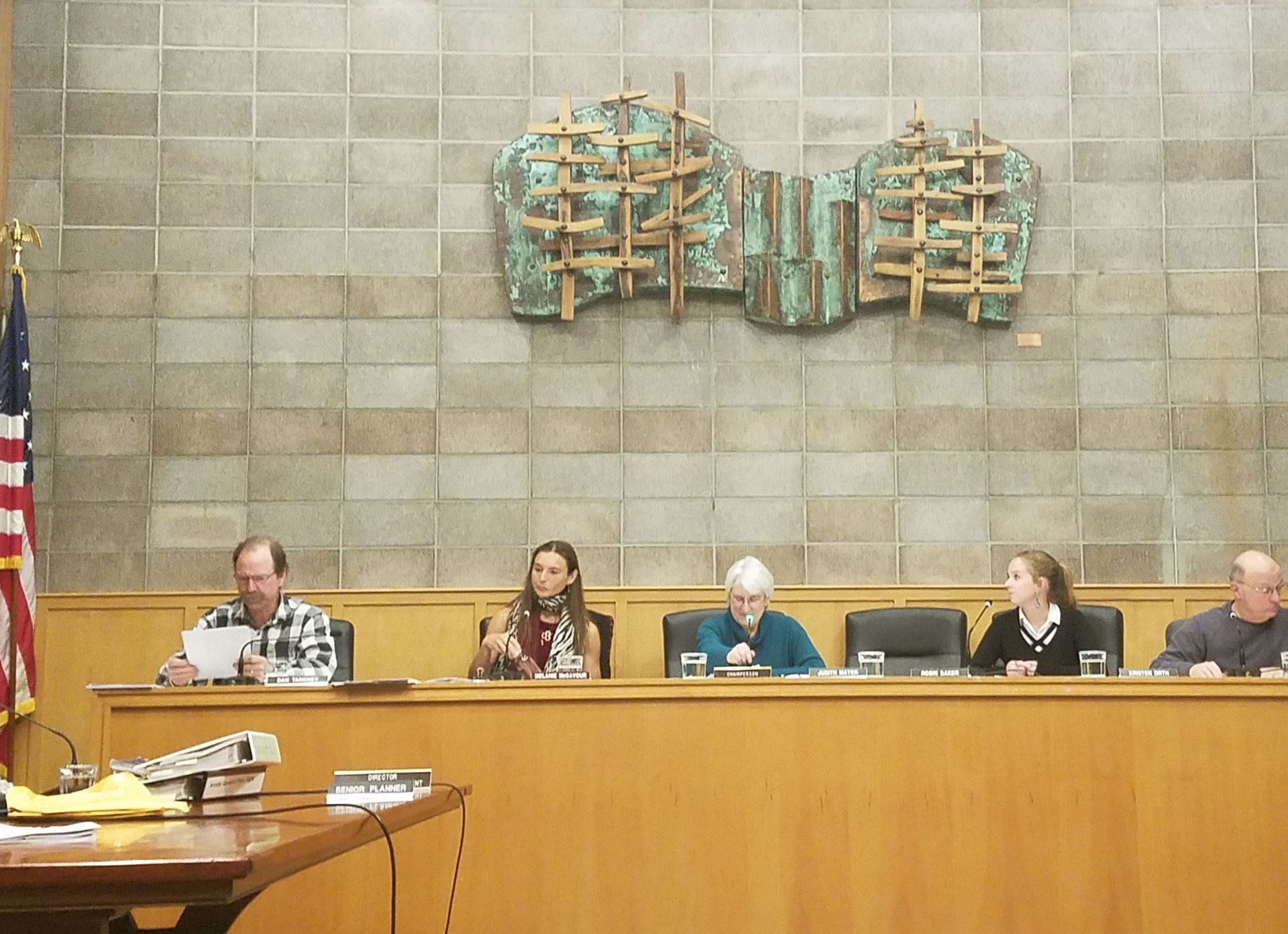From left to right: commissioners Daniel Tangey, Melanie McCavour, Judith Mayer, Kristen Orth and John Barstow at Arcata City Hall on Feb. 13. Photo by Surya Gopalan.