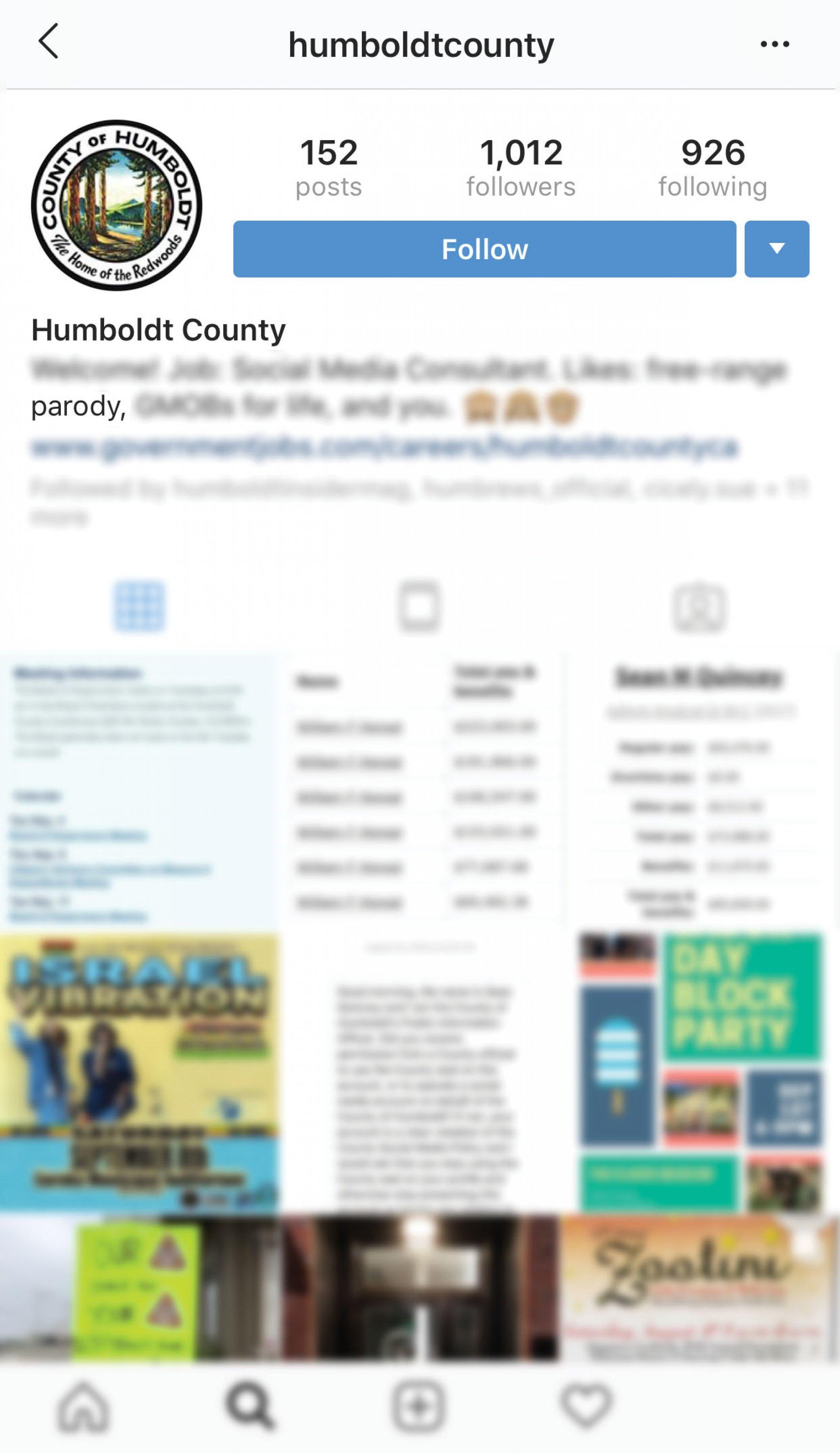 Screenshot of @humboldtcounty instagram