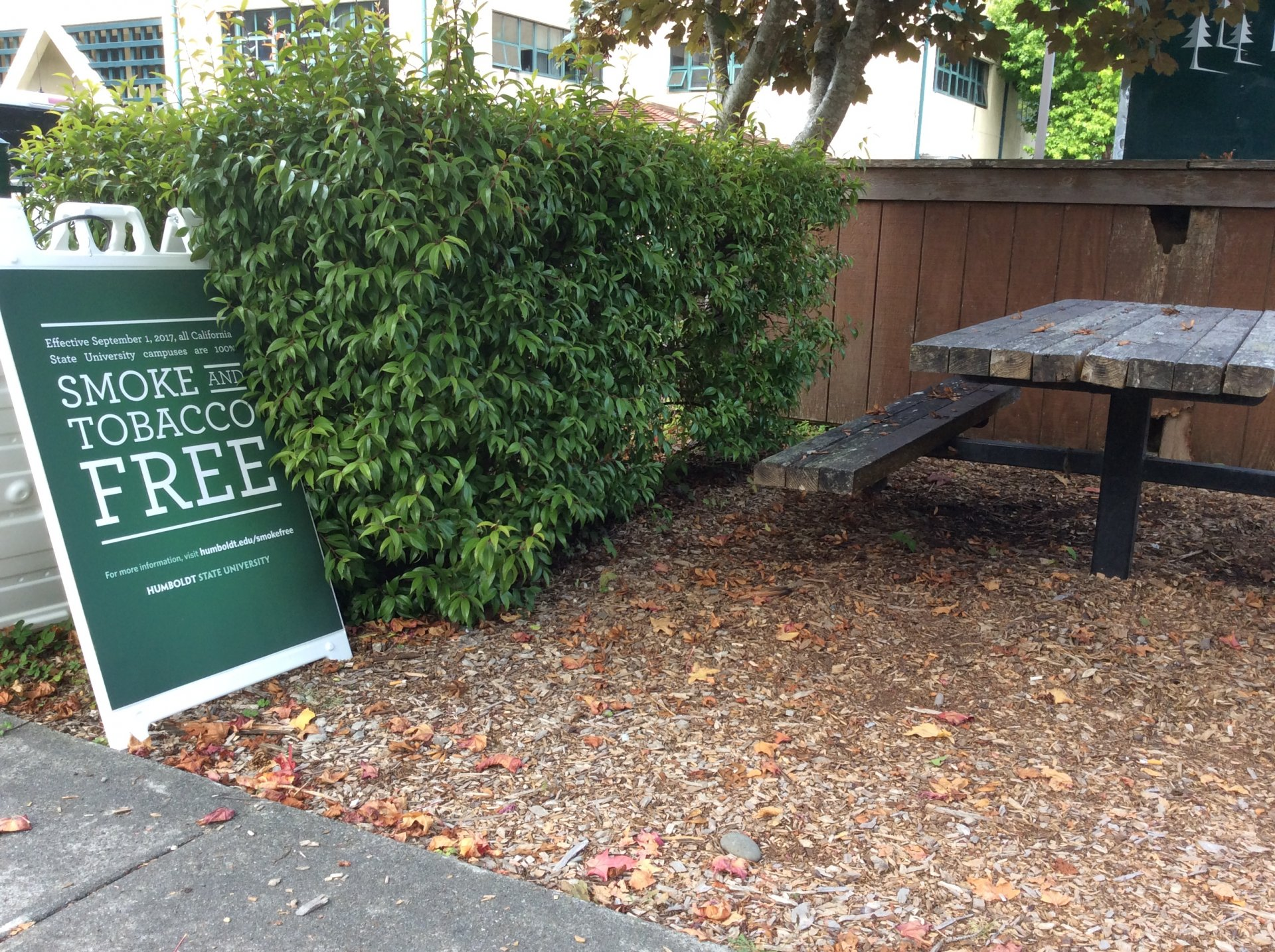 A designated smoking area on HSU campus. | Robert Brown
