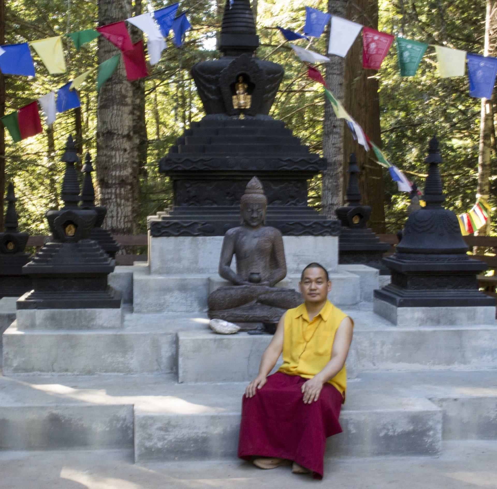 Resident teacher Ven. Khenpo Ugyen Wangchuk at the Ewam Ku Sum Ling school of Tibetan Buddhism in Kneeland, CA. Photo credit: Robert Brown