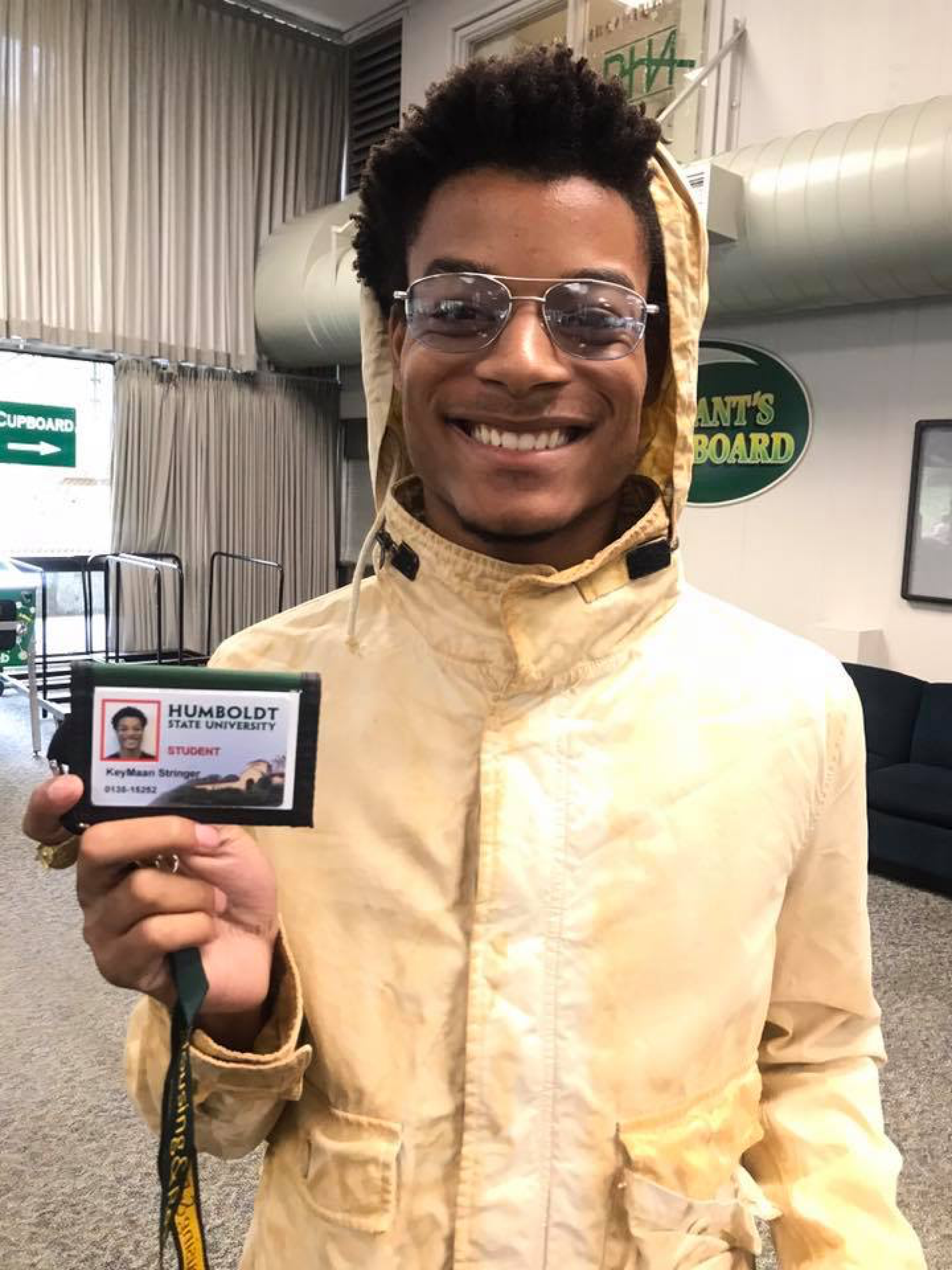 HSU freshman Keymaan Stringer holding his HSU ID near the Giant's Cupboard. Keymann was swept to sea by a rogue wave on Oct. 29. | Photo courtesy of Corliss P Bennett.