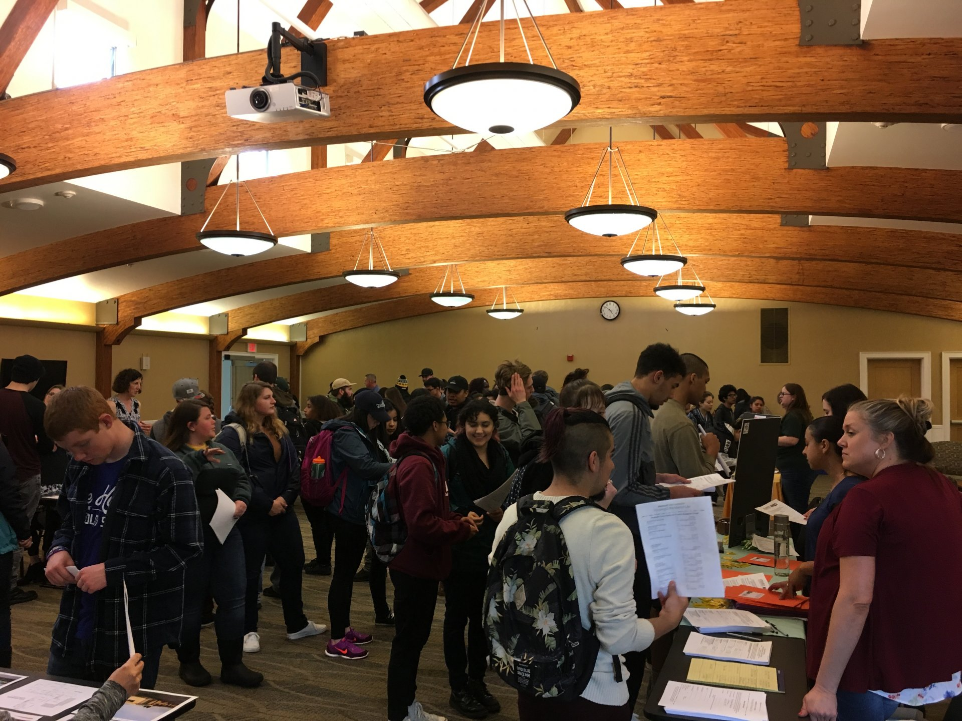 Students filled the Great Hall to meet with prospective property managers | Photo by Curran Daly