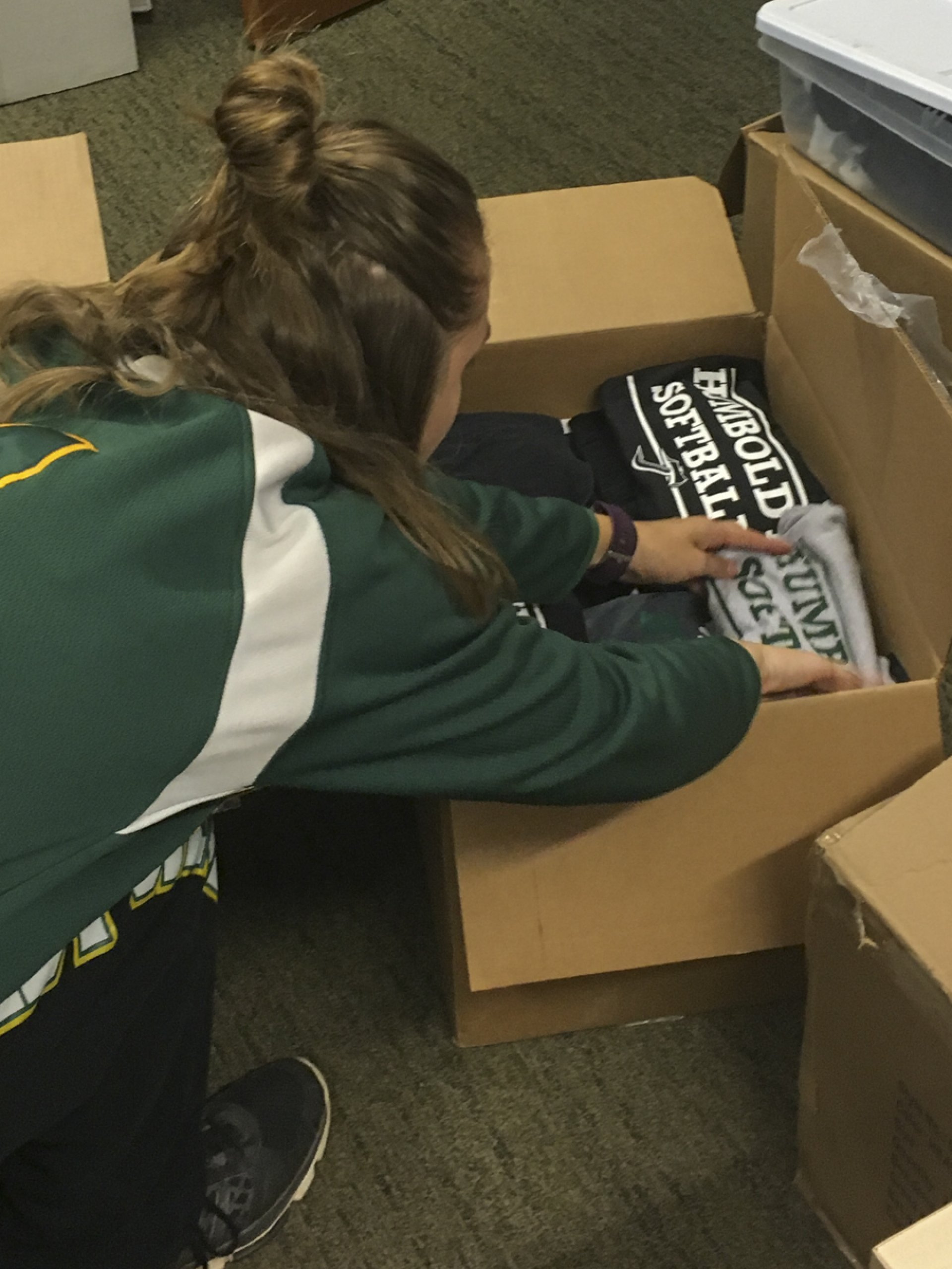 HSU Softball team sending donations to the University of Houston. | Photo by Shelli Sarchett