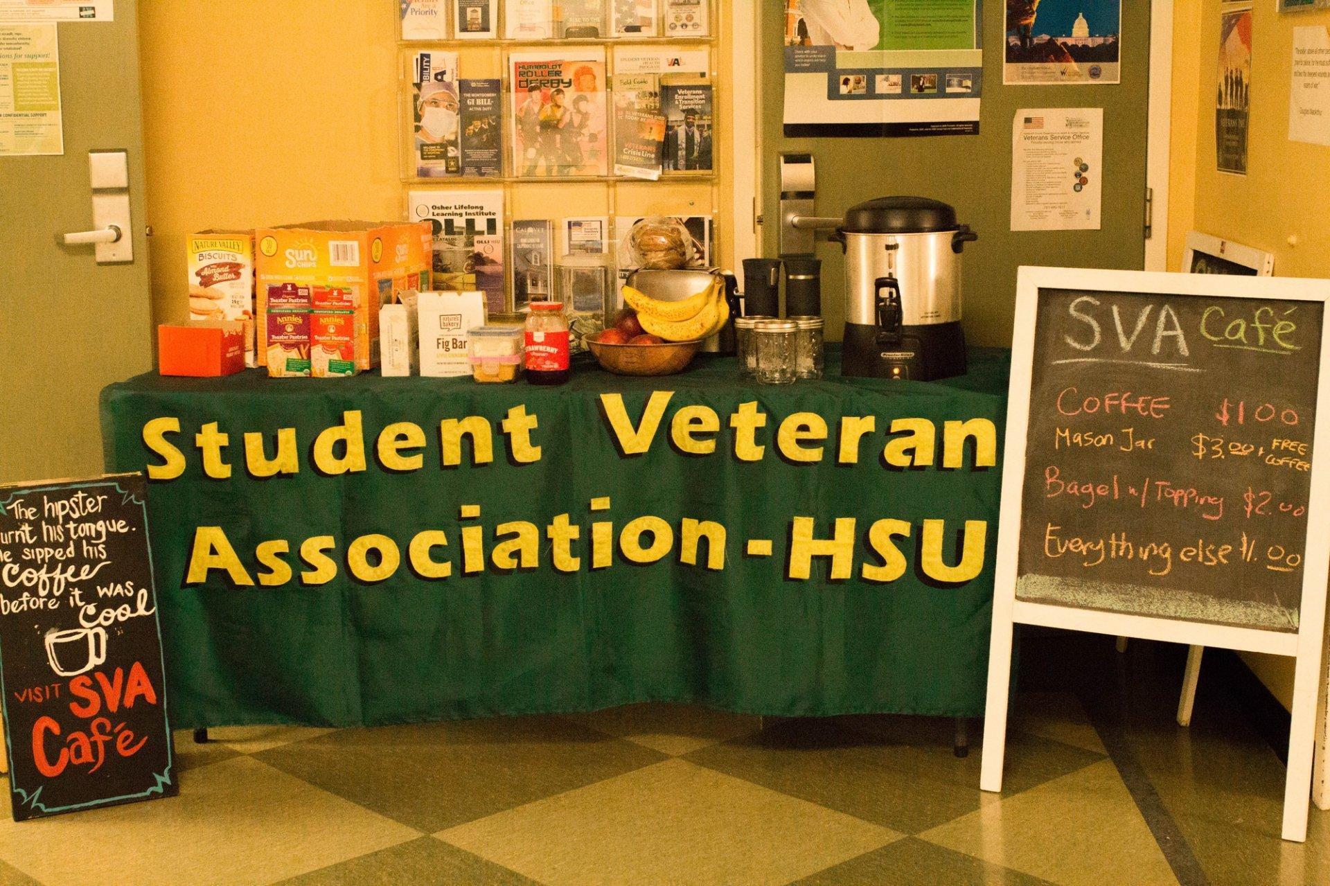 The Student Veterans Association Cafe outside of the Veterans office. Photo credit: Lauren Shea