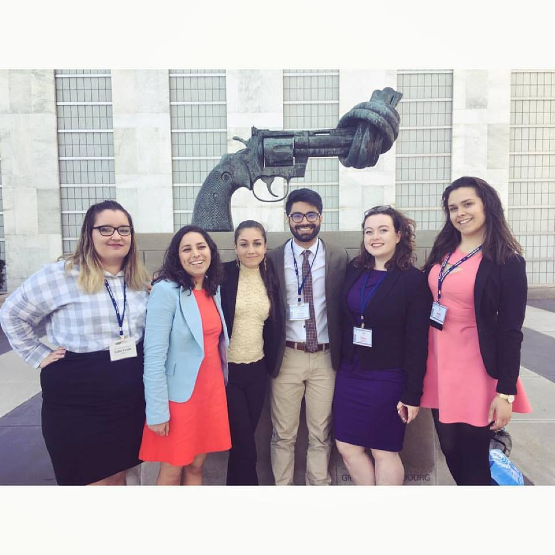 Six of the eight that represented HSU in New York at Model UN Nationals. | Photo by Juan Herrera