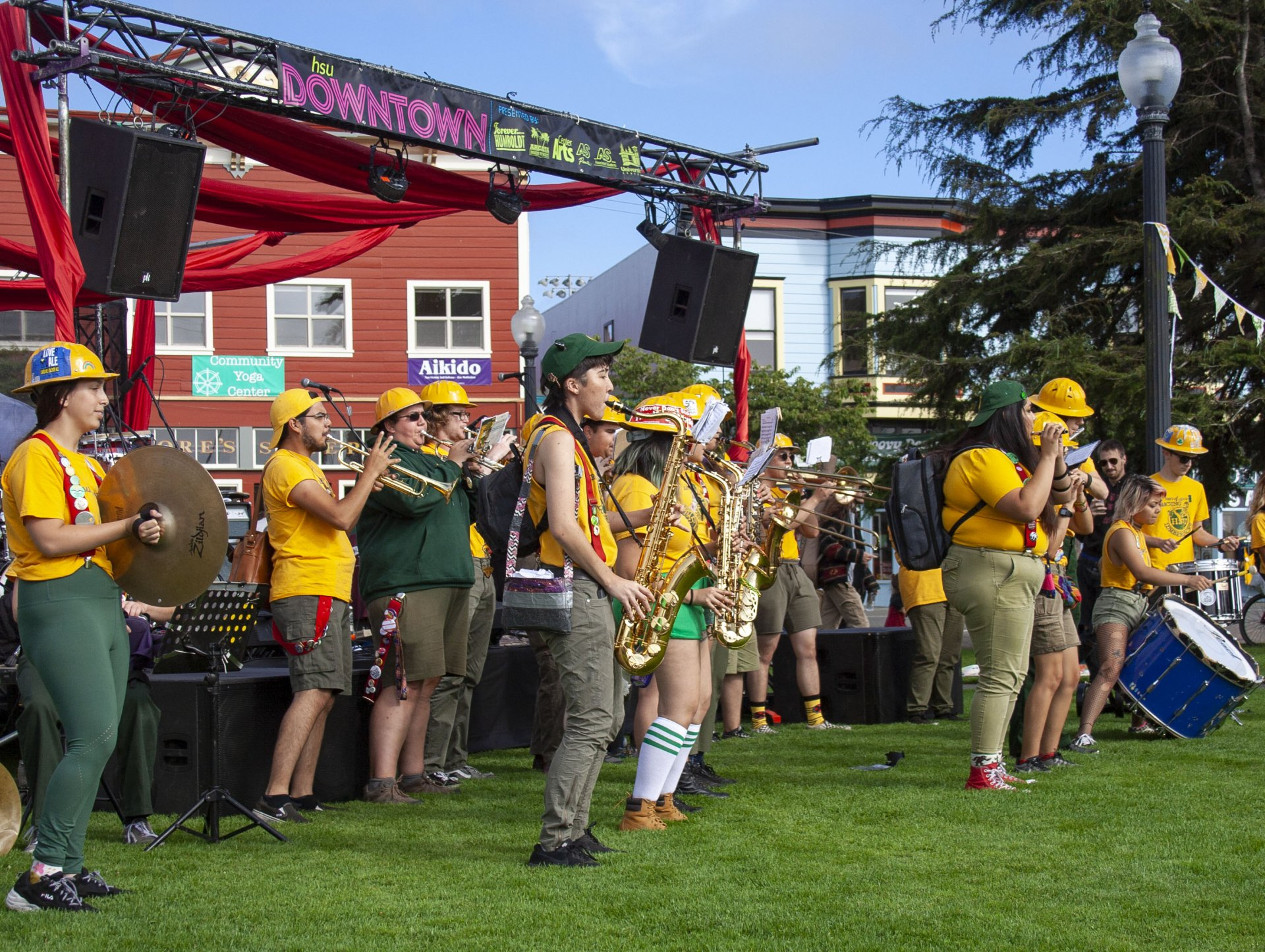 The HSU Marching Lumberjacks perform at HSU Downtown on Sept. 6. | Photo by Alberto Muro