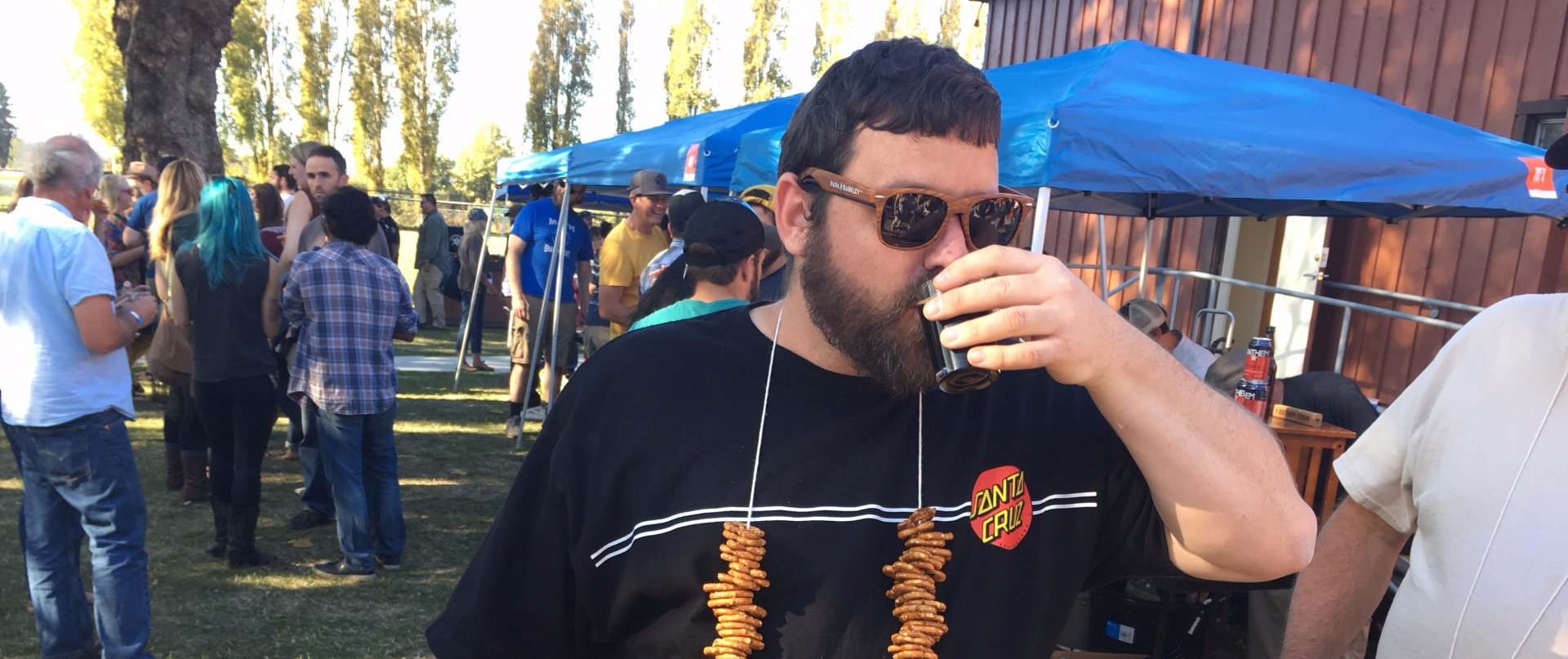 Russ Janak rocking his pretzel necklace while sipping good brew at the 17th annual Hoptoberfest on Oct. 14th. Photo credit: Juan Herrera