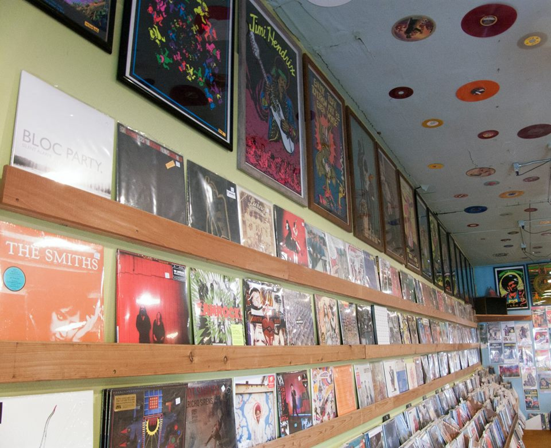 Wall of records at People's Records. People's Records is an independent record store in Arcata, California. They are celebrating Record Store Day on Saturday, April 21, 2018. Photo by Matthew Hable.