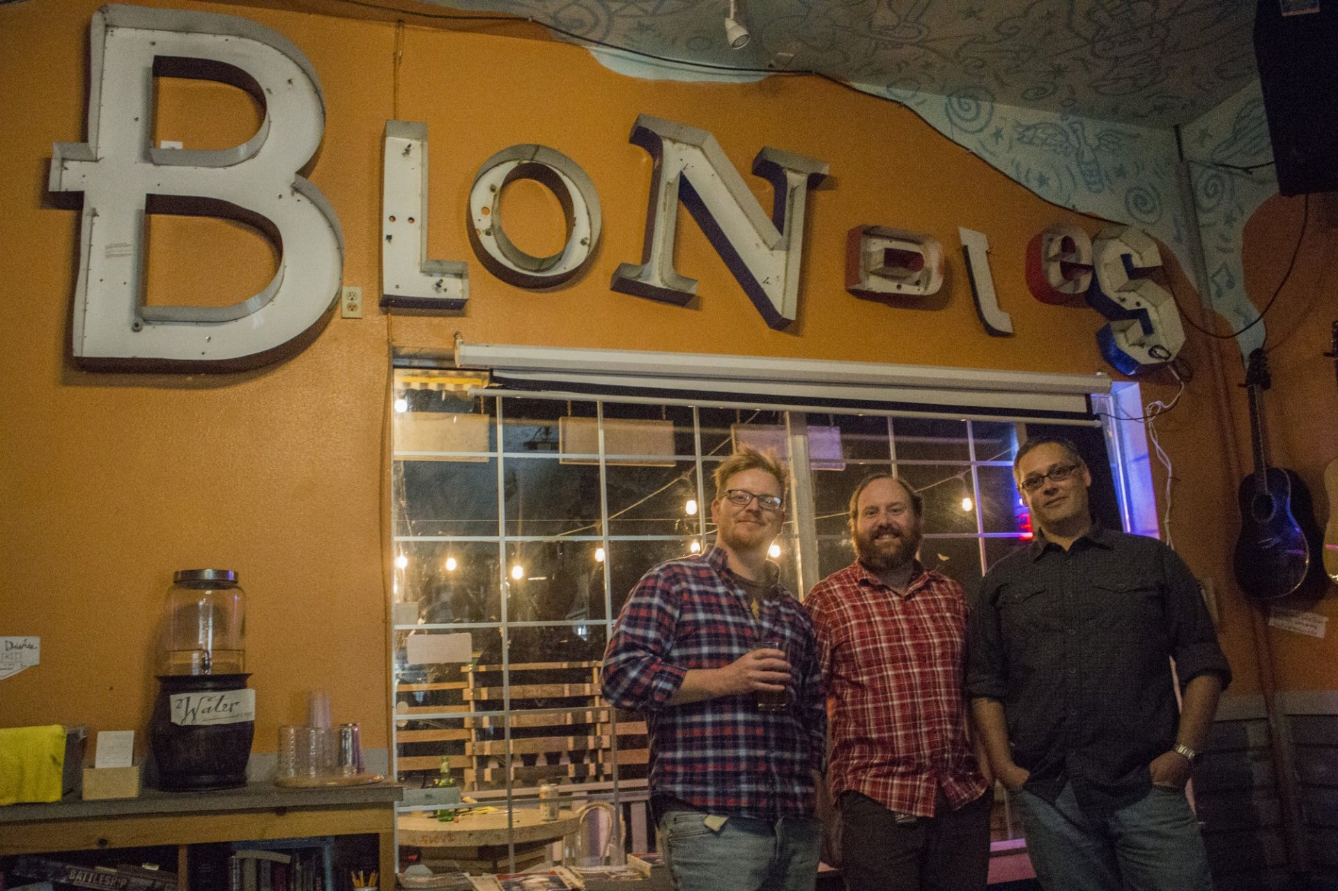 Chris Harmon, professor of Chemistry, C.D Hoyle, professor of physics and astronmy, and Tyler Mitchell, professor of physics and astronmy at Science tackle tough topics during Tap Night at Blondies Food and Drink on Nov 4. | Photo by Tony Wallin