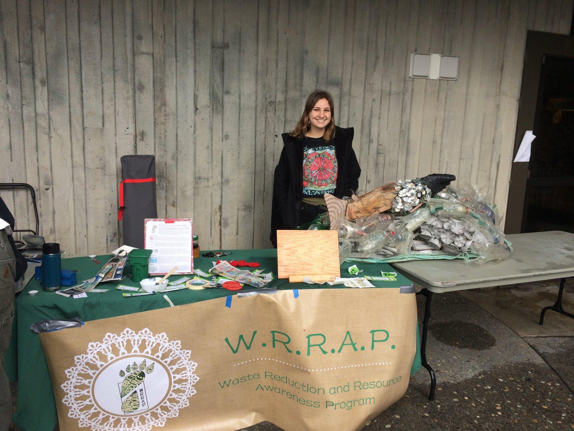 WRRAP intern Molly Gilmore tabling at the Recyclemania outreach event. Photo by Shohei Morita