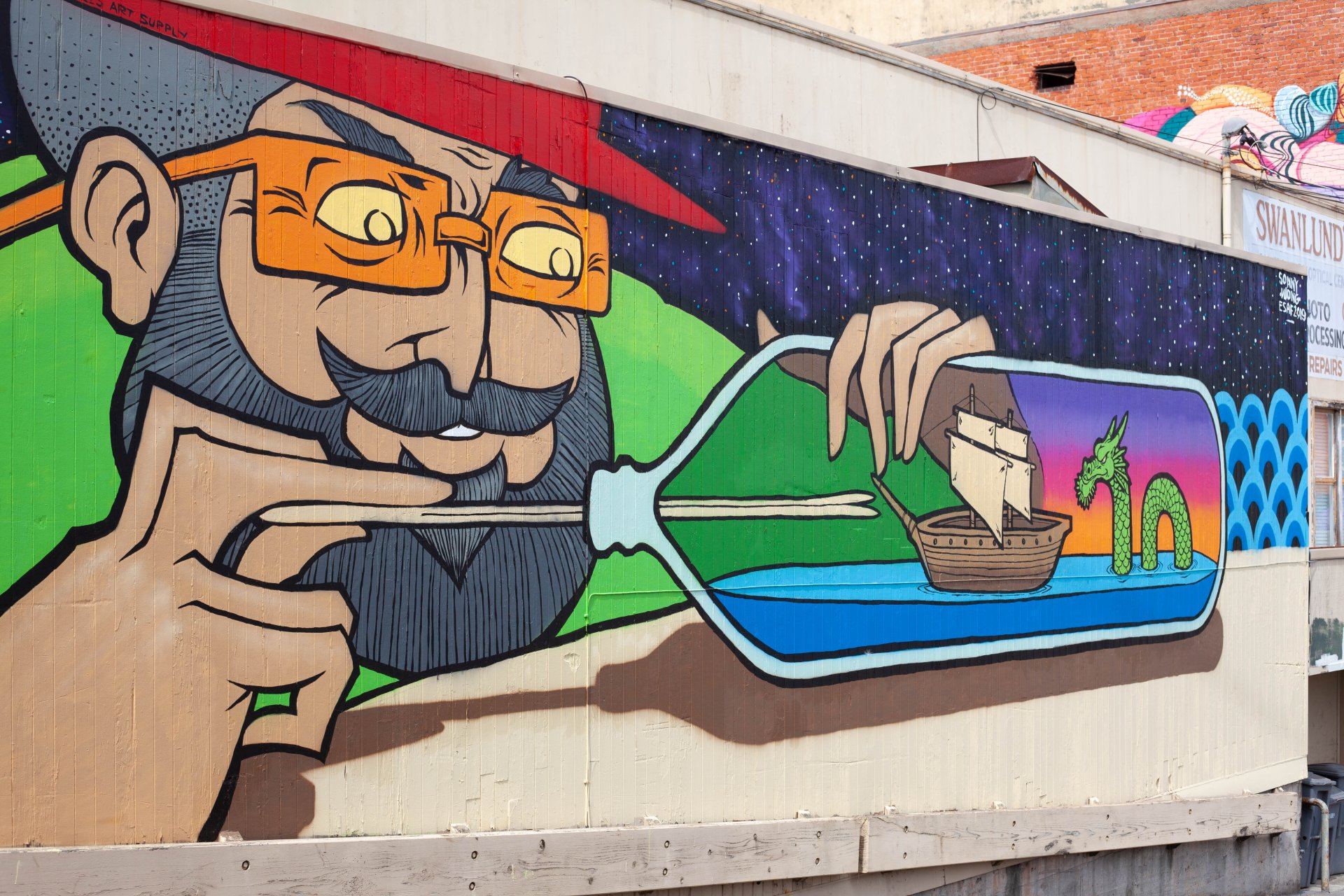 Humboldt resident Sonny Wong's mural sits on the corner of 6th and G Streets in Eureka. | Photo by Deija Zavala