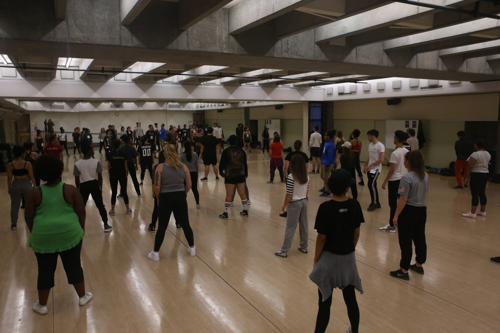 Members of Demolishion showing the people auditioning their dance on September 18th 2017. Photo credit: Juan Herrera