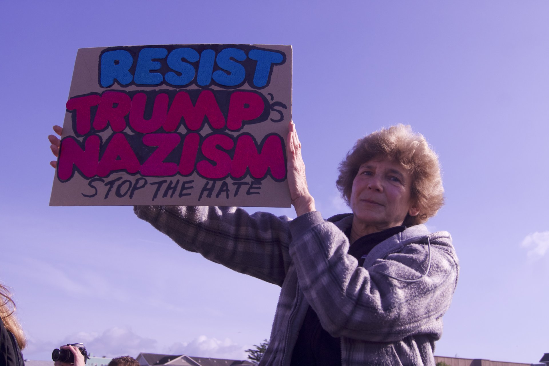 A protester holds a sign at the Women's March in Eureka on Jan. 21, 2018. Photo by Michelle Meyers.